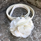 Cream Flower Accent Belt, Size XS/S 38""