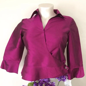New Women's S.L.B. Fuchsia 100% Natural Silk Blouse, Size 14