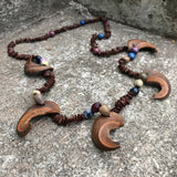 Artisan Crafted Wooden Beaded Matinee Necklace