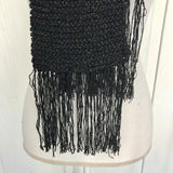 "Handcrafted Black Tinsel Knitted Scarf, 54"" x 6"""