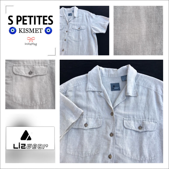 LIZ WEAR PETITES Women's Size S Linen Blend Short Sleeve Button Down Shirt Top
