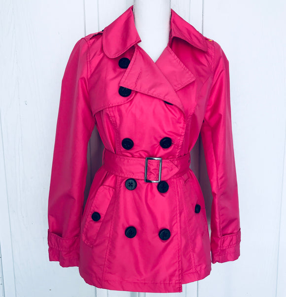 Pink Envelope Fuchsia Pink Ladies Double Breasted Peacoat, Size Medium