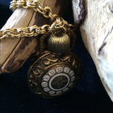 1970's Avon Vintage Watch Face Perfume Bottle Pendant Matinee Necklace