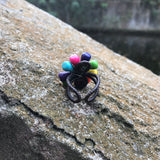 Rainbow Turquoise Artisan Handcrafted Adjustable Boho Ring
