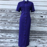 CATHY LEE COLLECTION Vintage Women's Size 10 Iris Shift Shirt Button Down Maxi Dress