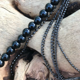"Multi Layered Black Bead And Hematite 34"" Chain Lariat Necklace"