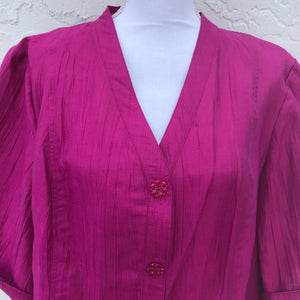 Maggie Barnes Hot Pink Button Plus Size Floral Button Blouse, Size 1X