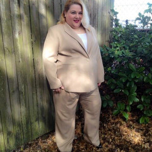 JH Collectibles Plus Size 2 Piece Beige Pant Suit, Size 3X