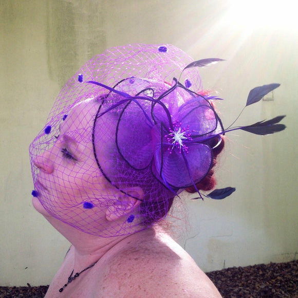 Gorgeous Purple Feather Fascinator