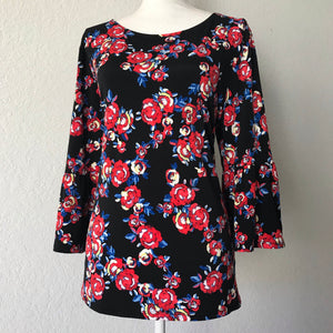 ELLEN TRACY Women's Plus Size XL Stretch Floral Bell Sleeves