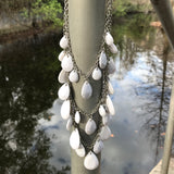 White Beaded Multi Layer Matinee Necklace