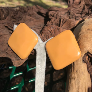 "Vintage 1980's Burnt Yellow Square 1.25"" Stud Earrings"
