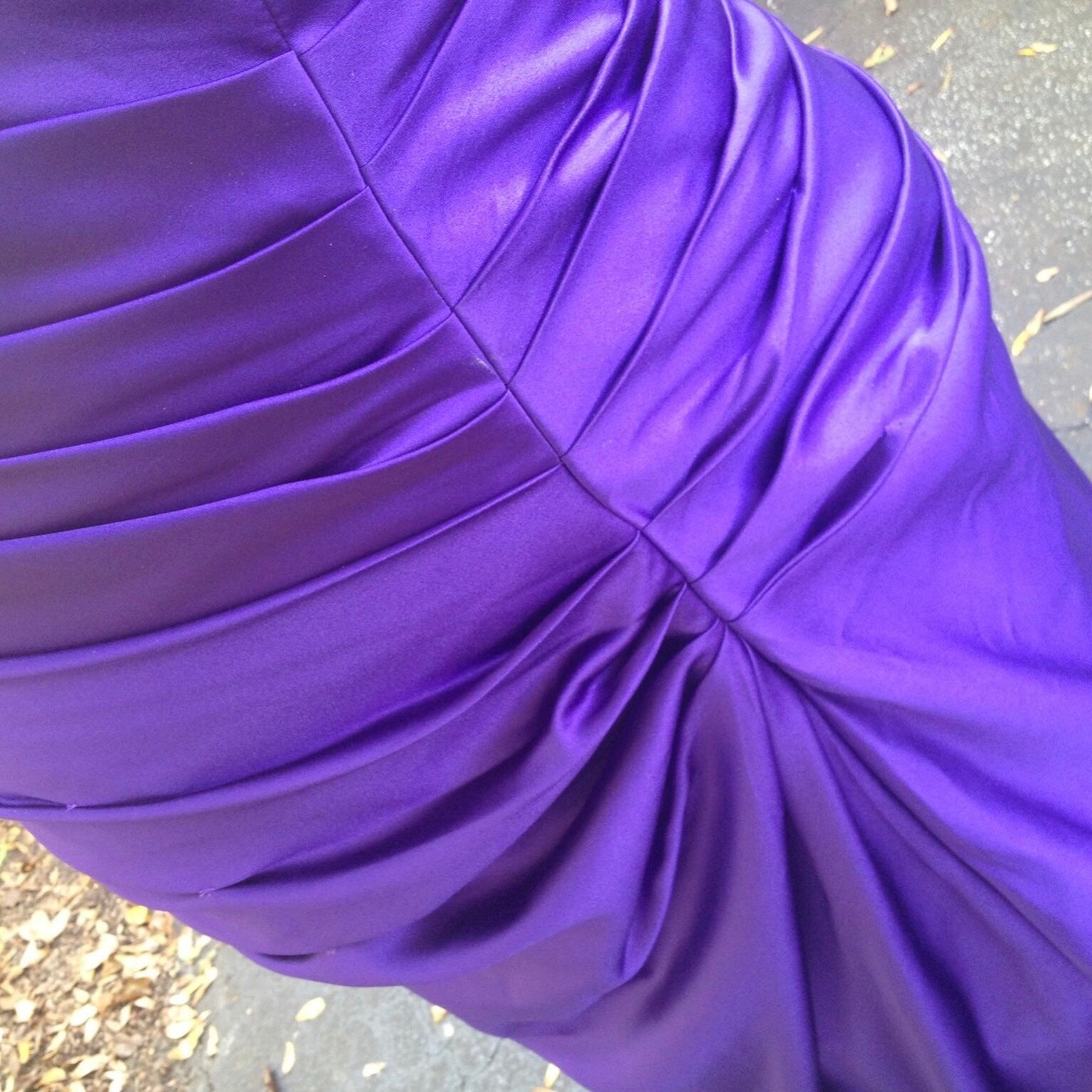 1248dc06046 ... David s Bridal Plus Size Strapless Ruched Purple Satin Ball Prom Gown  Bridesmaid Dress