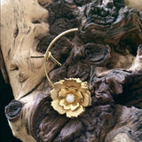 "Vintage Costume Gold Tone Rose Pin 2"" Brooch"