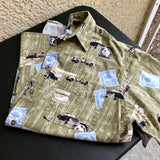Men's Vintage Puritan Cars, Trucks & Postage Print Button Down Shirt, Size Medium