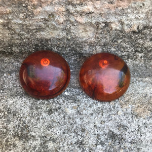 "Vintage 1980's Amber 1.5"" Round Stud Earrings"