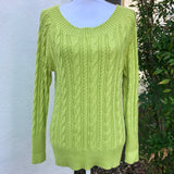 JCP Women's Lime Green Cotton Blend Knitted Sweater, Size L