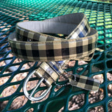 "MK Gingham Print Genuine Leather Belt, Size Large 43"" x 1"""