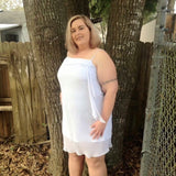 White Plus Size Wedding Or Formal Chiffon Dress, Size 2X / XXL