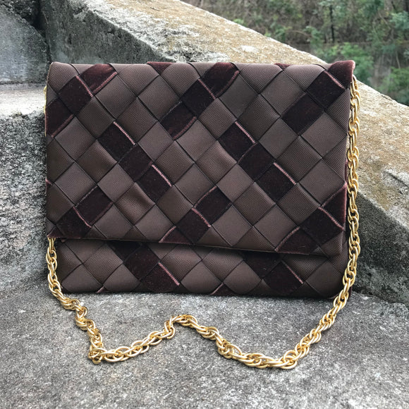 Babs' Winnetka Vintage Brown Ribbon Evening Purse