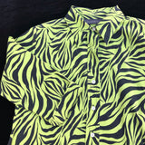 COPPER KEY Women's Size Large Zebra Print Button Down Career Blouse