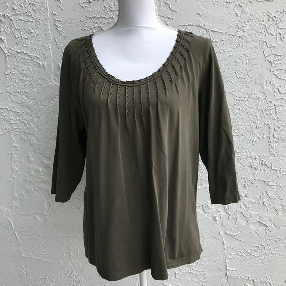 Christopher & Banks Olive Green Cotton Blouse, Size Large