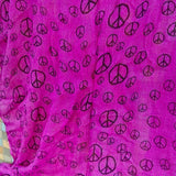 "Boho Chic Rayon Large Hot Pink Peace Sign Scarf Shawl 22""x 64"