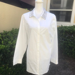 CHICO's Women's SIZE 3 White Beaded Collar Button Down Career Dress Shirt