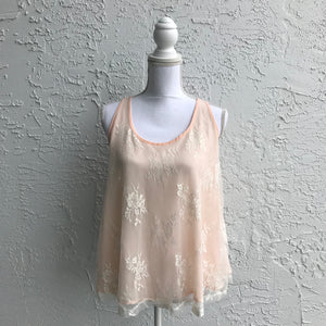 Rue 21 Peach Lace Tank Top, Size Small