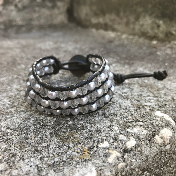 Artisan Crafted Leather Beaded Bracelet