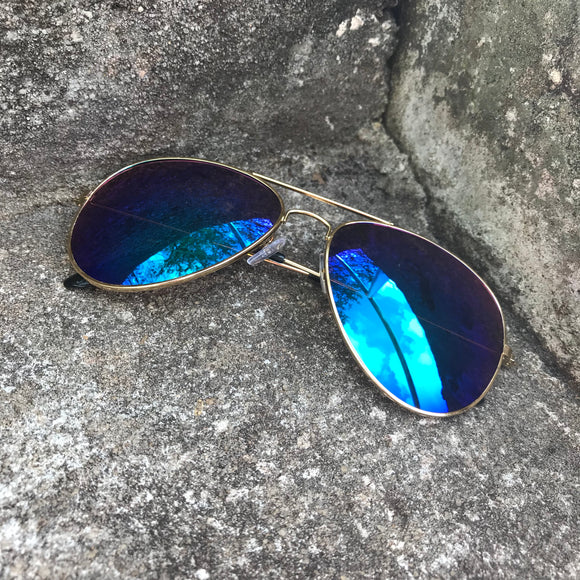 Polarized Mirror Blue Lens Aviator Sunglasses