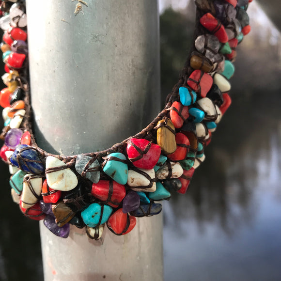 Artisan Crafted Multi-Color Turquoise Statement Choker Necklace