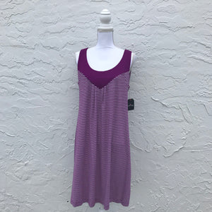 St. John's Bay Purple Stripe Print Dress, Size Large