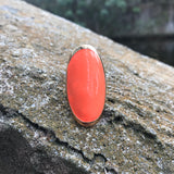Artisan Crafted Peach Coral Enameled Adjustable Brass Ring