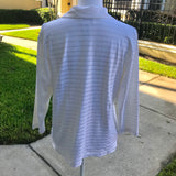 TALBOTS Women's White Striped Stretch Shirt Blouse, Size L