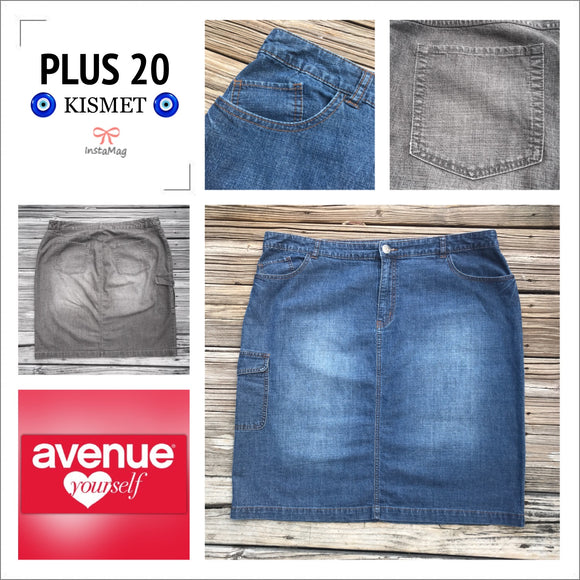 AVENUE JEANS Women's Plus Size 20 Denim Straight Jean Skirt