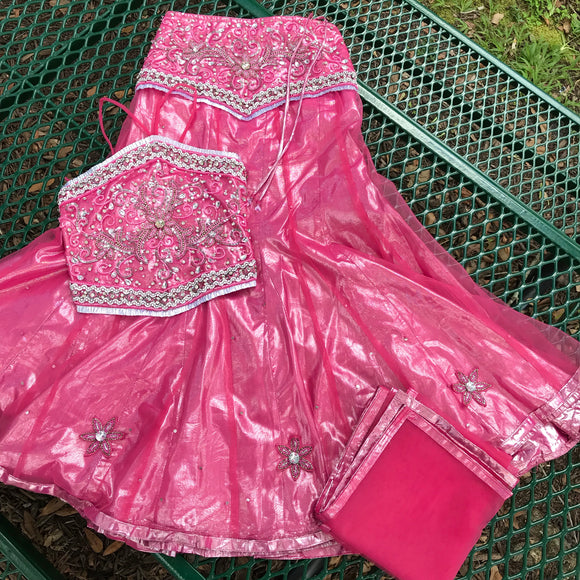 Indian Bollywood Girl Lehenga Choli With Dapatta 3 Piece Rhinestone Skirt Set, Size 30