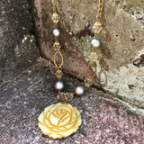 Gold-Tone Carved Shell Yellow Rose Matinee Necklace & Earrings Set