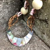 Artisan Crafted in Philippines Beaded Mother Of Pearl Matinee Necklace