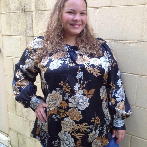 Plus Size Satin Feel Floral Print Blouse, Size 2X