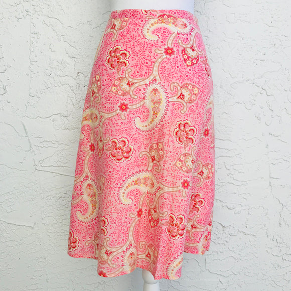 Tommy Hilfiger Cotton Pink Paisley Print A-Line Skirt, Size 6