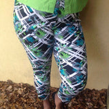Ashley Stewart Tropical Print Stretch Pants, Size 14
