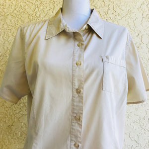 BASIC EDITIONS Women's Plus Size Button Down Tan Career Top, Size XL,