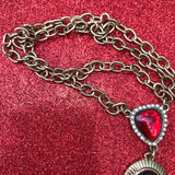 Long Red Medallion Lariat Necklace