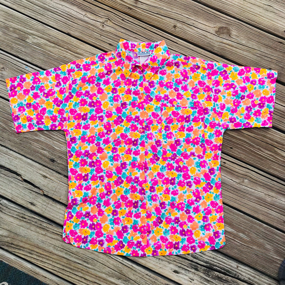 HONORS VINTAGE Women's Size Medium 12-14 Bright Floral Button Down Shirt Blouse