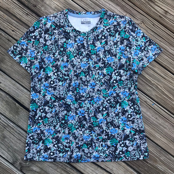 BASIC EDITIONS Vintage 90's Women's Size Medium Relaxed Fit Cotton Floral T-Shirt