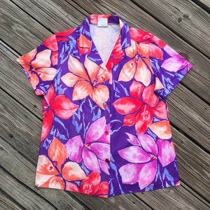 PRETTY TOPS VINTAGE Women's Size Large Floral Button Down Blouse