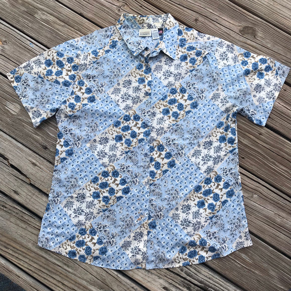 CLASSIC ELEMENTS VINTAGE 90's Women's Large Floral Button Down Blouse Shirt