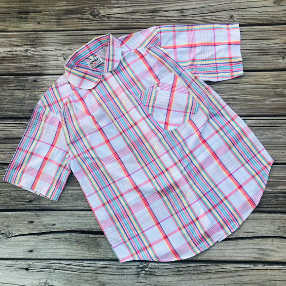 SPORT CARRIAGE SPORT Vintage 1970's Women's Size Medium Plaid Short Sleeve Button Down Blouse
