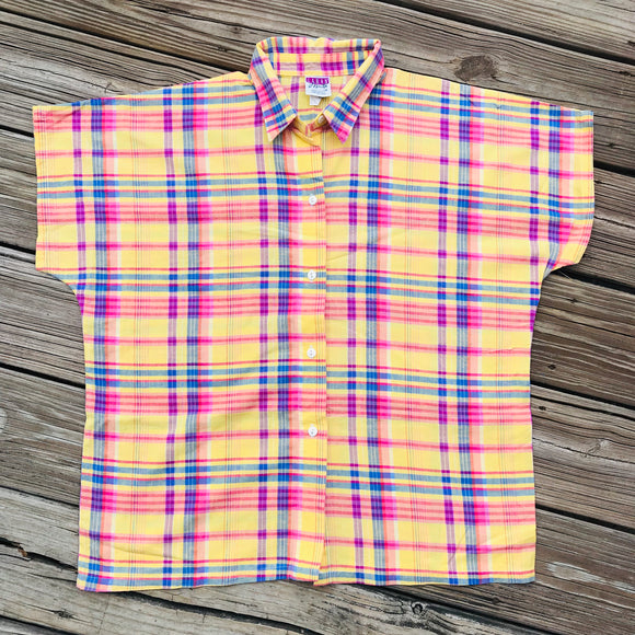 GARAN BY MARITA VINTAGE Women's SIZE 14 Bright Plaid Button Down Blouse